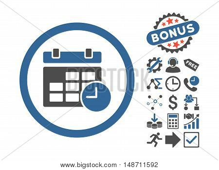 Date and Time icon with bonus elements. Vector illustration style is flat iconic bicolor symbols, cobalt and gray colors, white background.