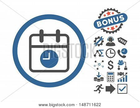 Date and Time pictograph with bonus pictures. Vector illustration style is flat iconic bicolor symbols, cobalt and gray colors, white background.