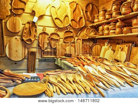 Wooden Kitchen Utensils At The Christmas Market In Riga