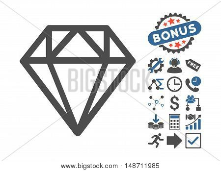 Diamond pictograph with bonus elements. Vector illustration style is flat iconic bicolor symbols cobalt and gray colors white background.