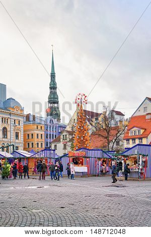 Christmas Market At The Livu Square In The Old Riga