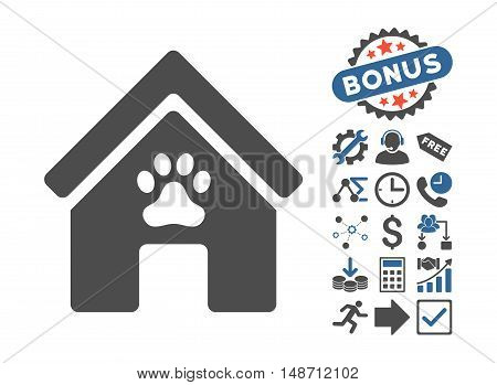 Doghouse pictograph with bonus pictures. Vector illustration style is flat iconic bicolor symbols cobalt and gray colors white background.