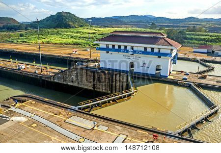Panama City, Panama - March 3, 2014: View of Miraflores locks from visitor center