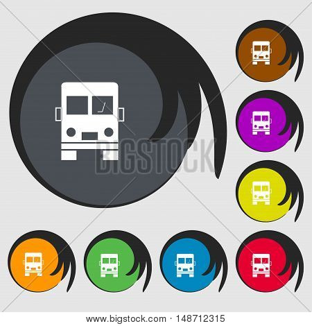 Truck Icon Sign. Symbols On Eight Colored Buttons. Vector