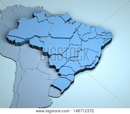 Brazil 3D south america latin countries geographical location
