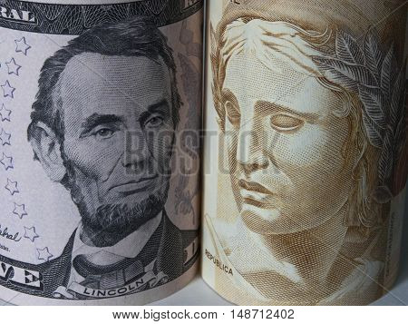 Dollar and Real currency business USA Brazil