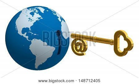 Globe Key 3D gold metallic internet shape e-mail