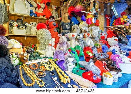 Handmade Animal Toys And Accessories During Riga Christmas Market