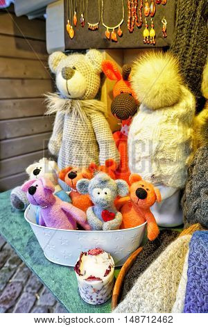 Handmade Bear Toys Displayed At The Riga Christmas Market