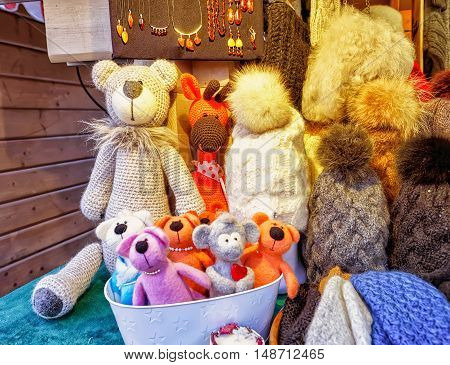 Handmade Bears And Hats Displayed At Riga Christmas Market