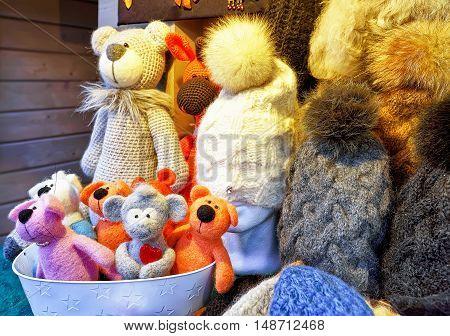 Handmade Bears And Hats Displayed At The Riga Christmas Market