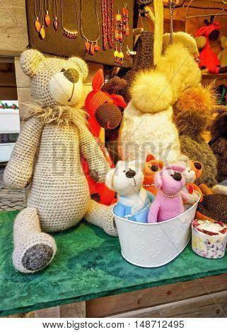 Handmade Teddy Bears And Hats Displayed At Riga Christmas Market