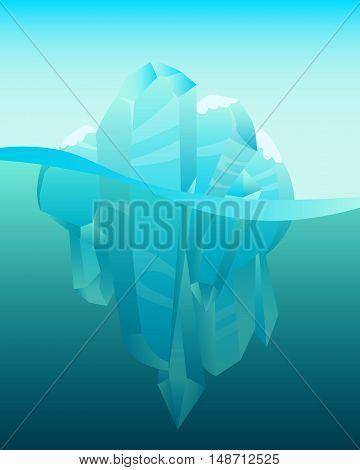 Antarctica winter landscape. Iceberg in ocean. Vector illustration