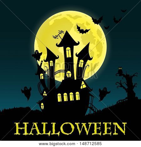 Happy Halloween Card Template, Mix of Various Spooky Creatures, bats, Moon and Castle, Vector Illustration
