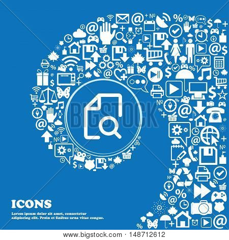 Search Documents Icon Sign. Nice Set Of Beautiful Icons Twisted Spiral Into The Center Of One Large
