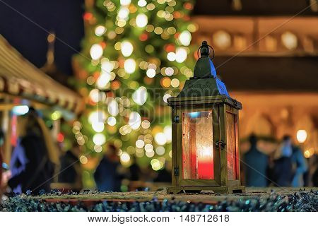 Lantern With The Candle Inside At Riga Christmas Market