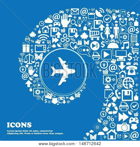 Plane Icon Sign. Nice Set Of Beautiful Icons Twisted Spiral Into The Center Of One Large Icon. Vecto