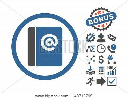 Emails pictograph with bonus symbols. Vector illustration style is flat iconic bicolor symbols, cobalt and gray colors, white background.