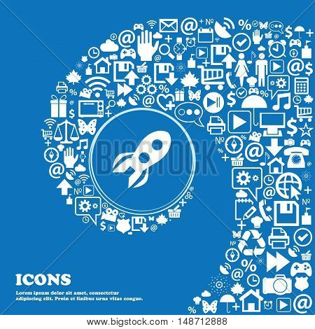Rocket Icon Sign. Nice Set Of Beautiful Icons Twisted Spiral Into The Center Of One Large Icon. Vect
