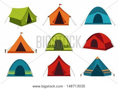 Collection of camping tent vector icons isolated on white background.