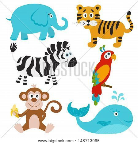 Collection of cute animals. Elephant tiger zebra parrot whale monkey. Vector illustration.