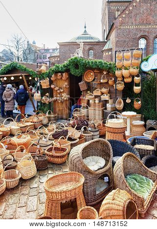 Stall With Different Wicker Baskets At The Riga Christmas Market