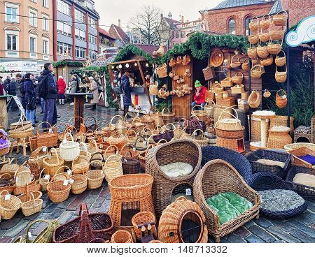Straw Baskets And Other Souvenirs At Riga Christmas Market