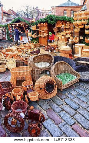 Straw Baskets And Other Souvenirs At The Riga Christmas Market