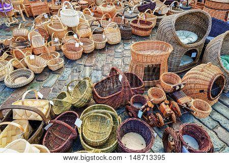 Various Straw Baskets At Christmas Market In Riga