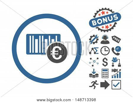 Euro Barcode pictograph with bonus elements. Vector illustration style is flat iconic bicolor symbols, cobalt and gray colors, white background.