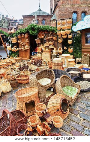 Wicker Baskets And Other Souvenirs At Christmas Market In Riga