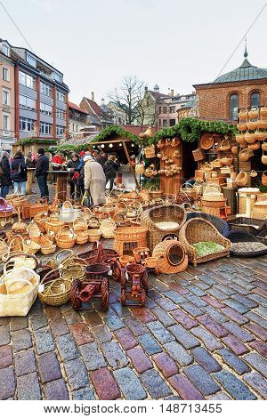 Wicker Baskets And Other Souvenirs At Riga Christmas Market