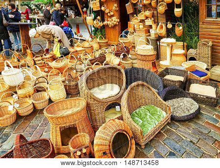 Wicker Baskets And Other Souvenirs At The Riga Christmas Market