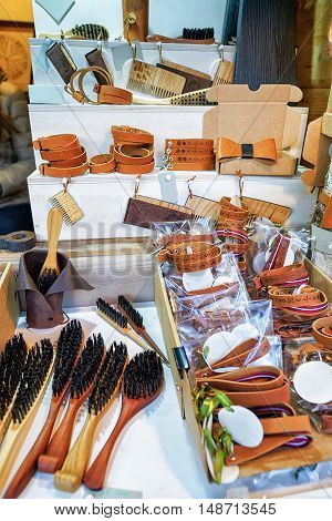 Wooden Brushes And Leather Souvenirs At Riga Christmas Market