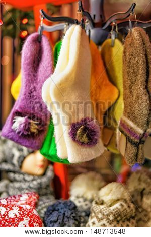 Woolen And Warm Socks Hanging At The Riga Christmas Market