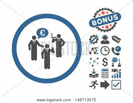 Euro Discuss Persons pictograph with bonus pictograph collection. Vector illustration style is flat iconic bicolor symbols, cobalt and gray colors, white background.