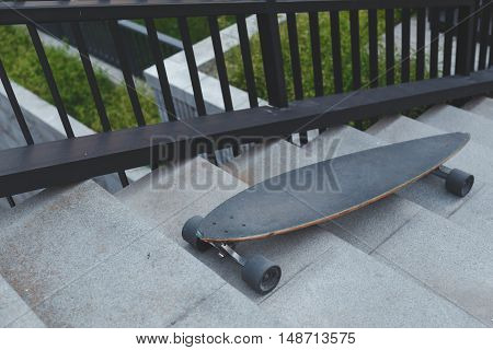 longboard for extreme skiing lying on the steps.