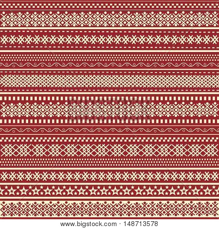 Christmas ornamental red background. Greeting card in vector