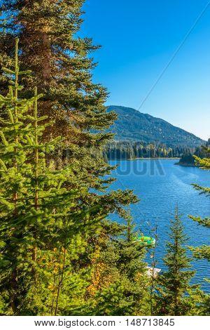 Majestic mountain lake in Canada. Coquihalla Lake in British Columbia, Canada.