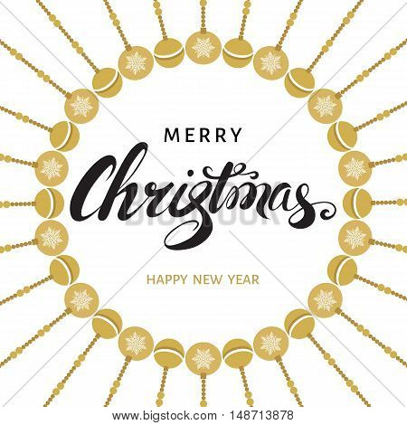 Merry Christmas and Happy New Year greeting card. Hand lettering. Vector illustration.