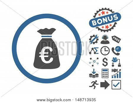 Euro Money Bag pictograph with bonus pictogram. Vector illustration style is flat iconic bicolor symbols, cobalt and gray colors, white background.