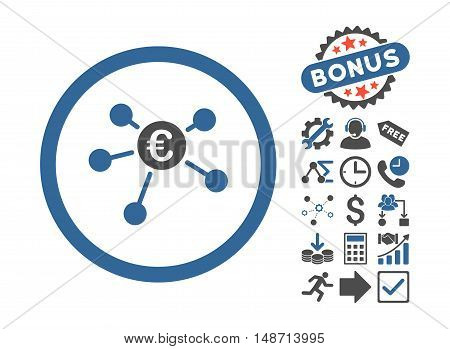 Euro Payments icon with bonus pictures. Vector illustration style is flat iconic bicolor symbols, cobalt and gray colors, white background.
