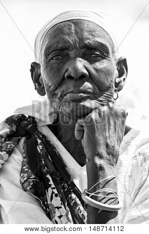 LILIIR, SOUTH SUDAN-DECEMBER 4, 2010: Portrait of unidentified South Sudanese woman showing the expression of years of war.