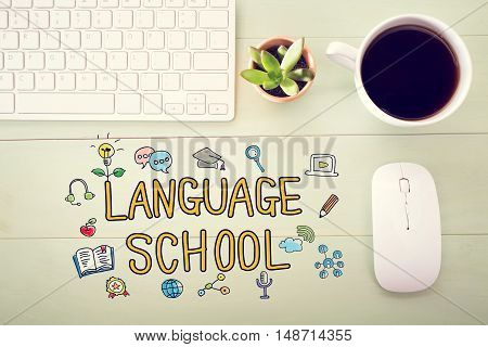 Language School Concept With Workstation