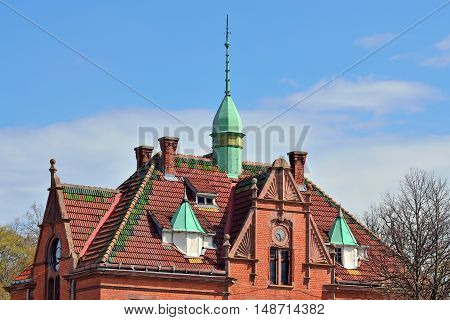 Ancient German building. City Zelenogradsk,  before 1946 Cranz, Kaliningrad region Russia