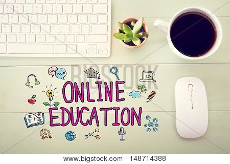 Online Education Concept With Workstation