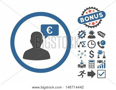 European Person Opinion icon with bonus icon set. Vector illustration style is flat iconic bicolor symbols, cobalt and gray colors, white background.