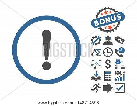 Exclamation Sign icon with bonus symbols. Vector illustration style is flat iconic bicolor symbols, cobalt and gray colors, white background.