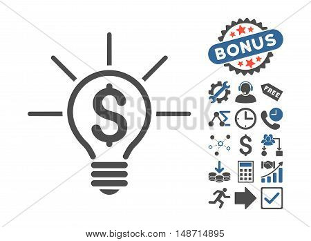 Financial Idea Bulb icon with bonus clip art. Vector illustration style is flat iconic bicolor symbols, cobalt and gray colors, white background.