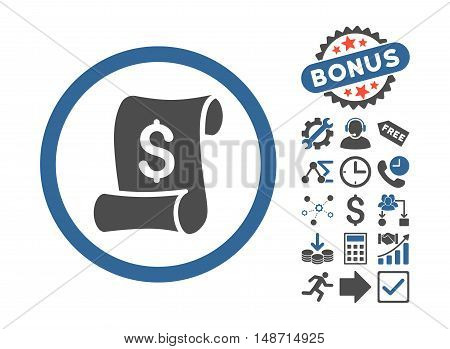 Financial Receipt Roll icon with bonus pictogram. Vector illustration style is flat iconic bicolor symbols, cobalt and gray colors, white background.